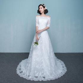 婚纱礼服新款甜美一字肩蕾丝修身显瘦小拖尾新娘结婚