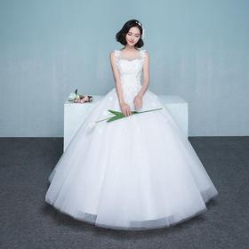 新娘婚纱 新款冬季韩式双肩显瘦花朵婚纱礼服齐地婚礼