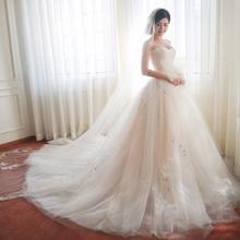婚纱礼服新娘2017春季新款 韩式花朵修身简约抹胸长拖尾