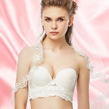 036防滑聚拢新娘婚纱礼服半杯聚拢蕾丝文胸小胸加厚隐形内衣