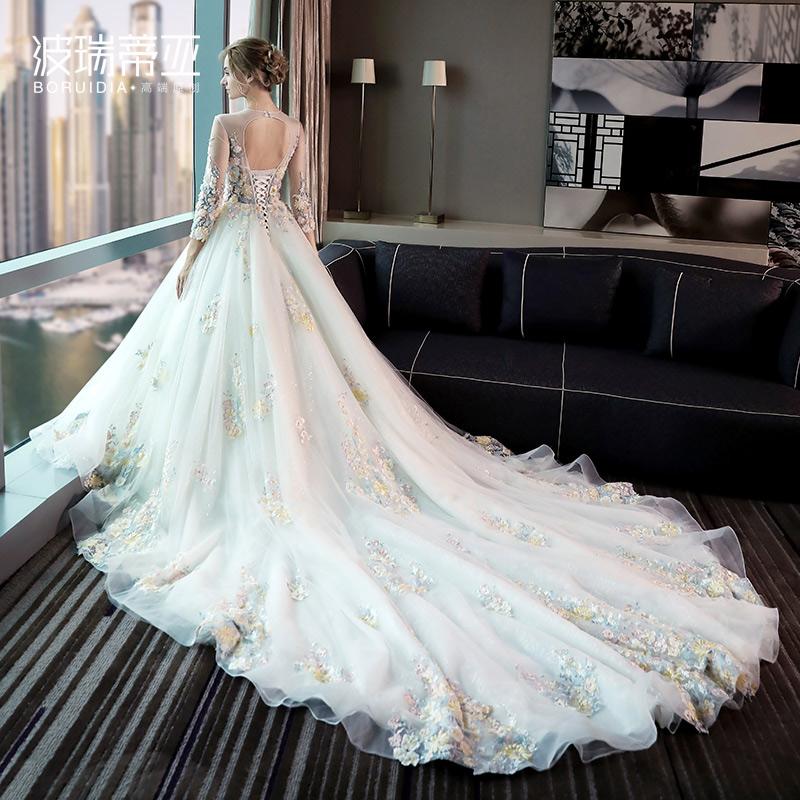 婚纱礼服2017新款秋冬季新娘结婚彩纱奢华长拖尾一字
