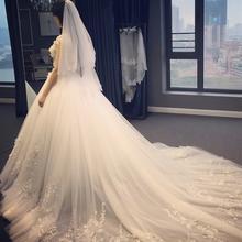 送三件套】Q77高档大拖尾婚纱礼服唯美简约一字肩长拖尾