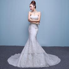 婚纱礼服2017新款抹胸长拖尾蕾丝韩版一字肩鱼尾修身显瘦新娘