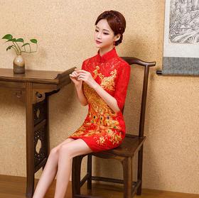 新款旗袍裙中式长袖晚礼服短款新娘敬酒服