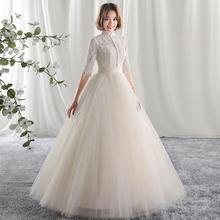 婚纱礼服2017新款结婚一字肩立领香槟色2017HS636