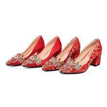 水钻婚鞋新娘红色高跟鞋低跟结婚红鞋粗跟新娘鞋龙凤褂单鞋