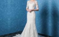 新款蕾丝拖尾婚纱礼服 韩式一字肩修身鱼尾新娘结婚婚纱