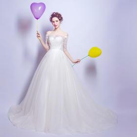 新款奢华蕾丝中长袖公主新娘修身大拖尾婚纱礼服