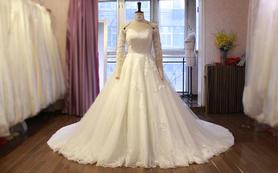 超奢华亮片蕾丝一字肩大拖尾婚纱 原创设计高级定制