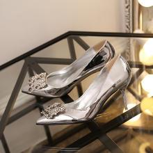 新款春季细跟高跟鞋女尖头水钻方扣银色中跟单鞋婚鞋新娘