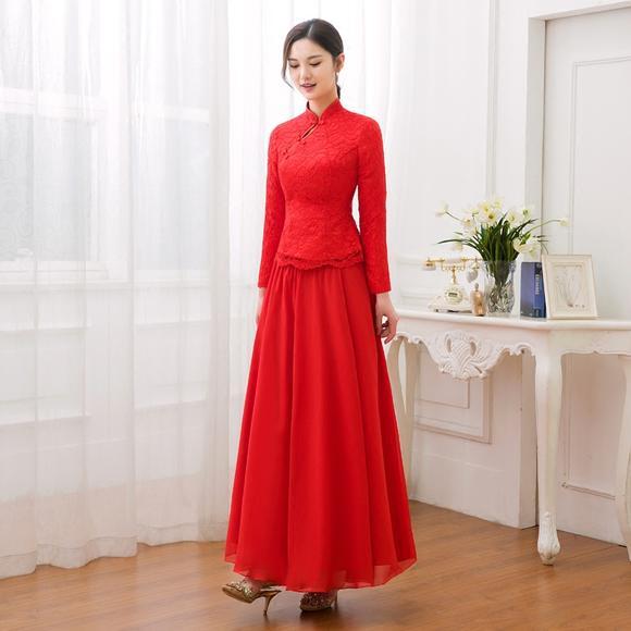 春夏蕾丝复古改良旗袍红色新娘敬酒服长袖中式长款修身结婚礼服