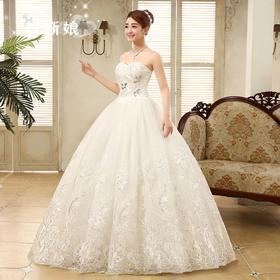 新款新娘抹胸蕾丝婚纱韩式齐地婚纱修身春季婚纱礼服
