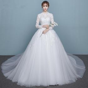婚纱礼服长拖尾新娘修身 新款春季立领显瘦女韩式简约齐地