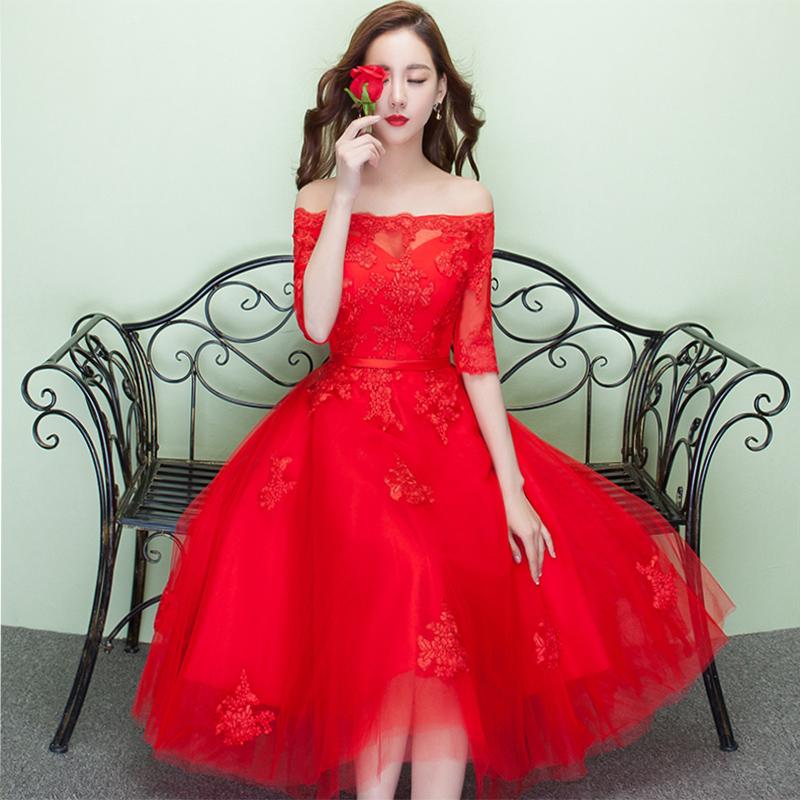 一字肩晚礼服新娘结婚敬酒服短款中长款红色宴会晚会主持人孕妇女