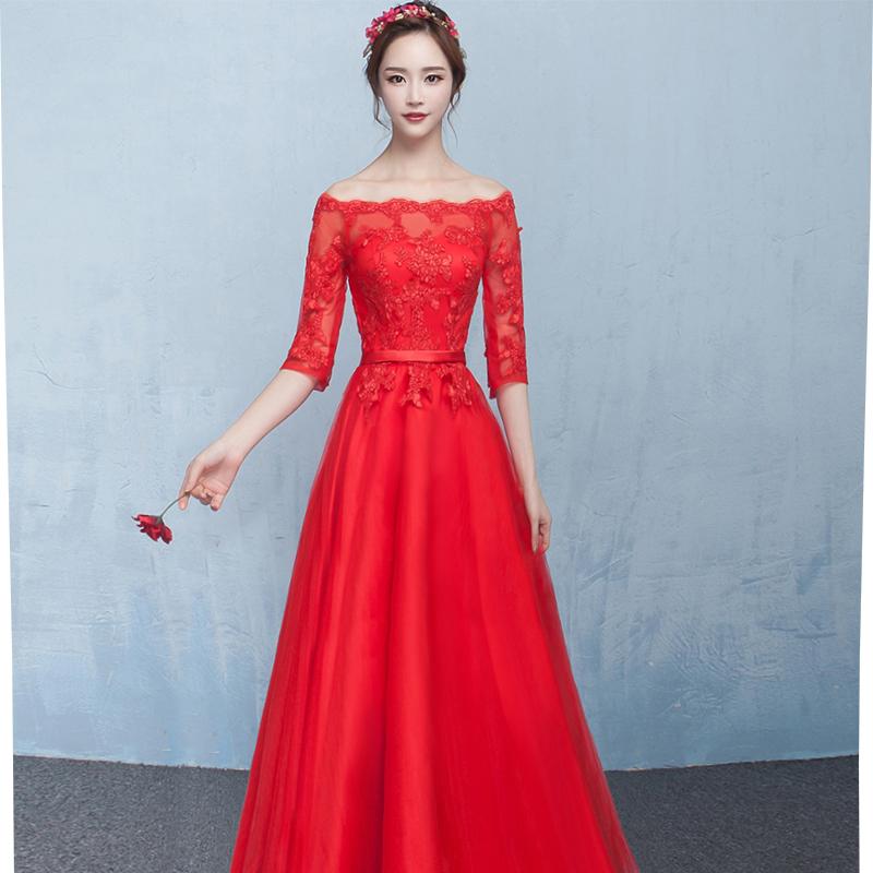 一字肩晚礼服新娘结婚敬酒服短款中长款红色宴会晚会