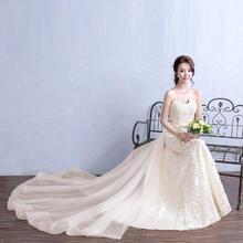 送四件套】拖尾香槟色高档婚纱抹胸小拖尾长款新娘K122