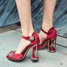 欧洲站高端定制真皮花朵鸟笼跟高跟女鞋单鞋婚鞋宝石粗跟水钻凉鞋