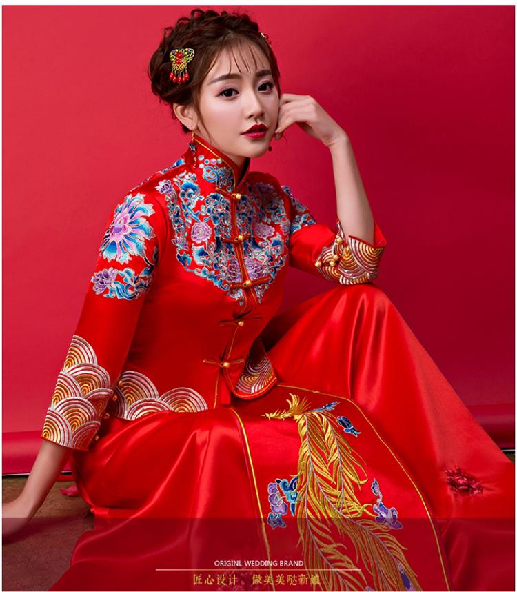 钟丽缇款送头饰拍下减2017春夏秀禾服新娘嫁衣中式婚纱敬酒服图片