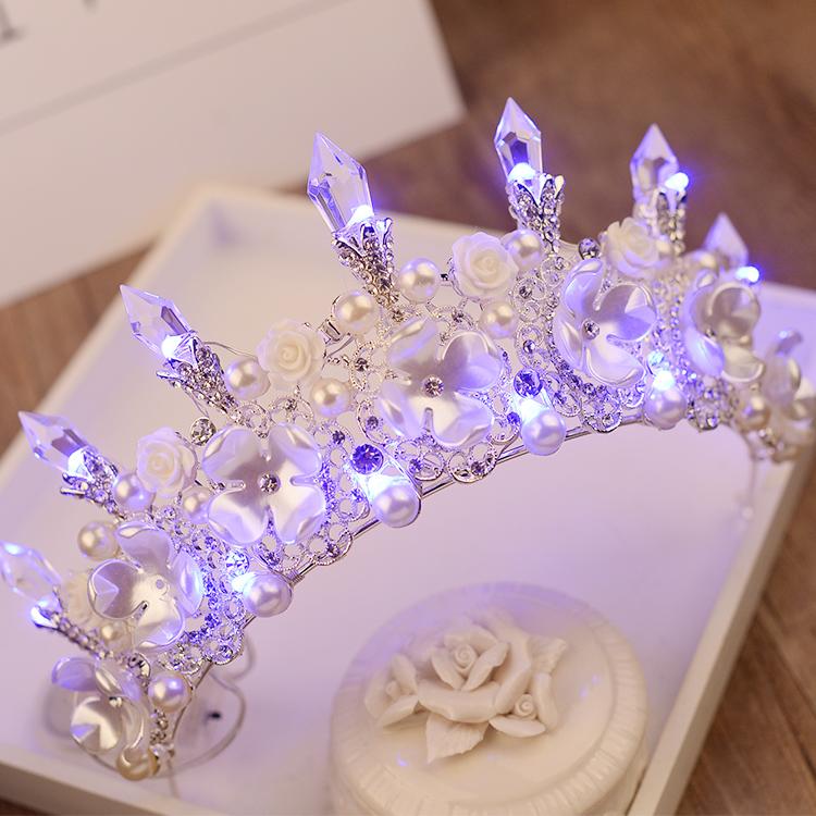 结婚用品 欧式头饰 >新娘水晶皇冠结婚礼服珍珠头饰  50.