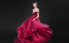 【美兮婚纱】单件-酒红色一字肩中托仪式纱