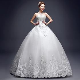 抹胸婚纱礼服  春夏季新款时尚韩版大码显瘦新娘结婚蕾丝