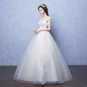 【送头纱手套裙撑】新款韩式齐地修身高腰大码显瘦婚纱