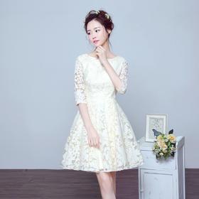 新娘敬酒服中袖 新款夏短款结婚礼服伴娘礼服修身显瘦