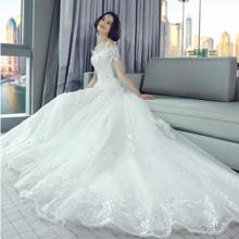 2017新款韩式一字肩婚纱礼服长拖尾新娘抹胸齐地公主显瘦大码