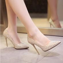 17年新款婚鞋婚纱配鞋细跟金色尖头婚鞋水晶晚礼服红鞋银色新娘