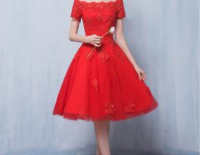 一字肩短款礼服 新款春季长袖新娘结婚敬酒服中长款