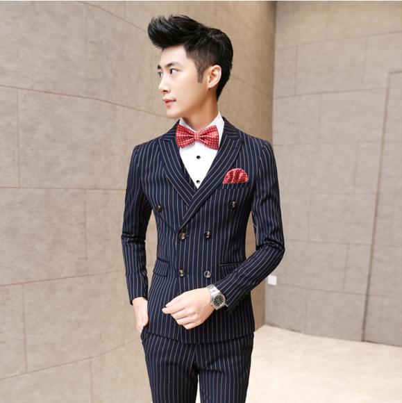 男士新郎西服套装青年三件套修身英伦韩版休闲结婚礼服竖条纹西装