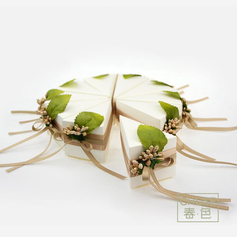 原创手工绿色喜糖盒森系韩式结婚礼盒蛋糕喜盒欧式创意回礼纸盒子