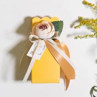花瓶结婚用品喜糖盒创意原创欧式草坪婚礼小清新亮黄色回礼喜糖盒