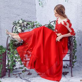 欧美大红色高档蕾丝透视网纱新娘婚纱敬酒服0001