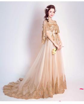 奢华耀眼香槟色透视网纱新娘结婚敬酒服婚纱礼服新款