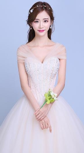 春夏新款齐地韩式抹胸香槟色新娘宫廷简约一字肩