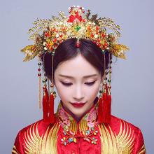 中式新娘头饰凤凰古装发饰秀禾服饰品结婚凤冠配饰旗袍流苏额饰