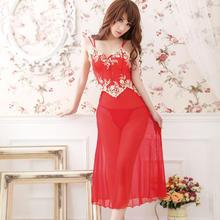 浴火凤凰 情趣内衣精品刺绣高档紧身透明红色性感长裙精品礼品