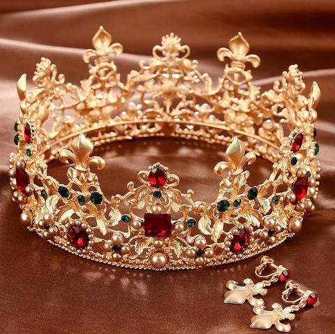 欧式头饰 >新娘饰品头饰巴洛克大号整环皇冠复古宫廷结婚婚礼王冠配饰