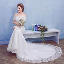 婚纱礼服2017新款新娘收腰鱼尾婚纱一字肩拖尾优雅公主修身女