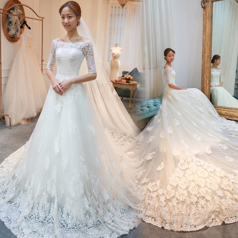 婚纱礼服新娘2017新款奢华长拖尾一字肩孕妇高腰齐地公主夏季