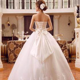 抹胸婚纱礼服新娘 新款绑带齐地婚纱修身大码冬季婚纱