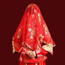 新款高档新娘薄纱透明红盖头 中式 刺绣 盖头纱 喜帕结婚包邮