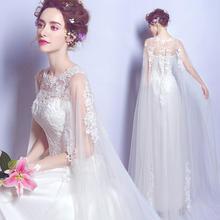 性感透视蕾丝花朵欧美公主新娘修身齐地婚纱礼服2017新款