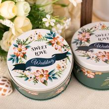 欧式结婚喜糖盒子批發圆形马口铁婚礼糖盒铁盒创意婚庆用品森林系