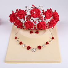 新款新娘项红色项链 韩式玫瑰花布花皇冠头饰项链耳环三件套包邮