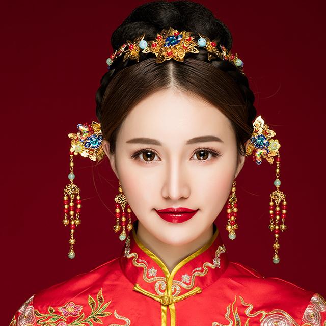 中式新娘古装头饰套装红色复古发饰旗袍秀禾服凤冠金色手工配饰品图片