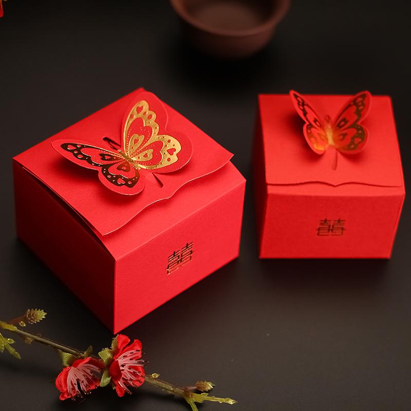 结婚用品喜糖盒子创意 浪漫糖果盒蝴蝶红盒喜糖包装盒
