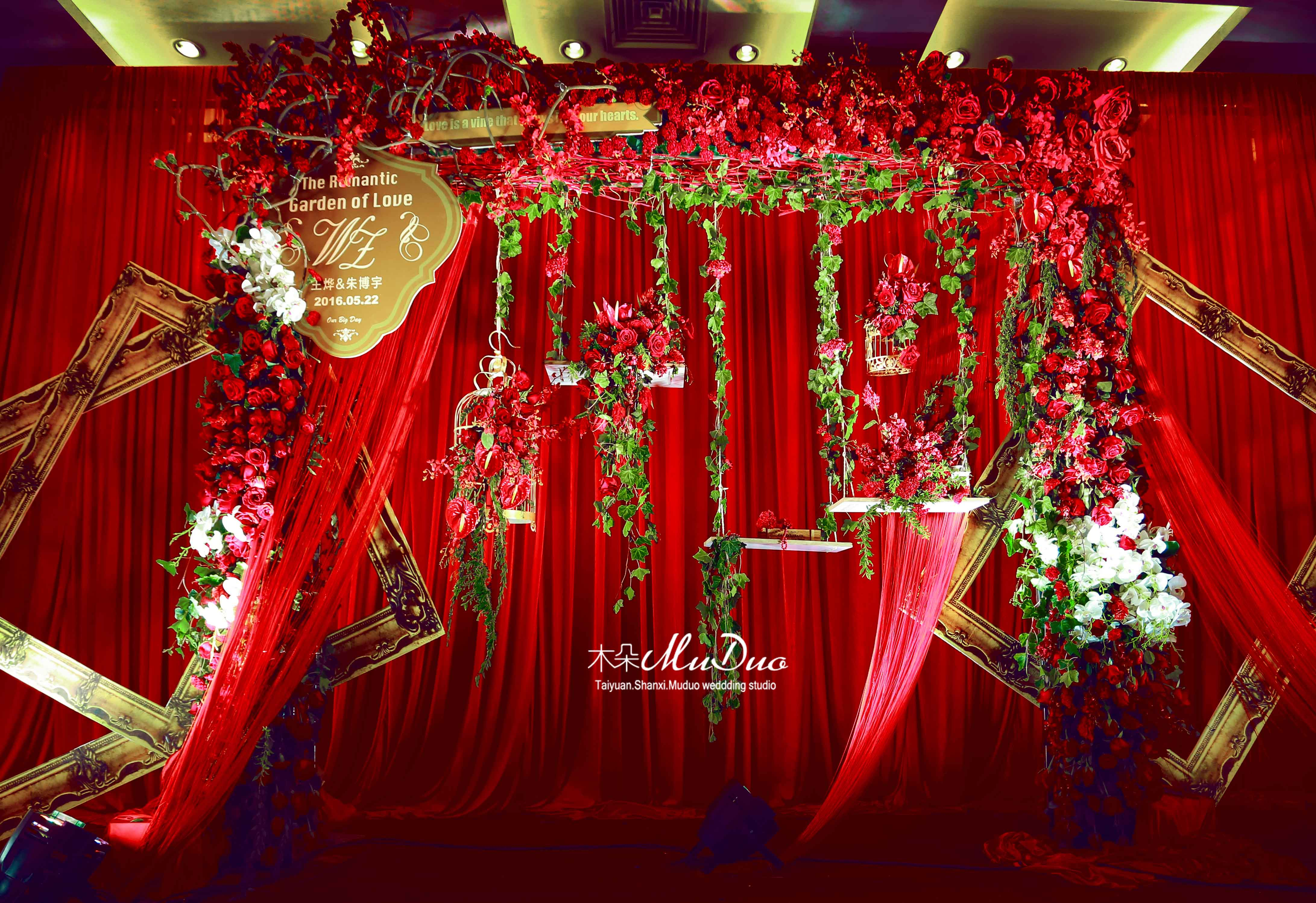 欧式红色婚礼布置图片