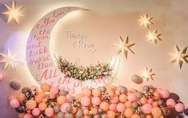 【粉色婚礼】个性粉色灰色搭配月光水晶布景超炫灯光